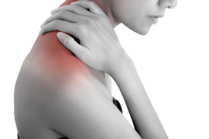 woman hand holding her neck and massaging  in pain area black and white color with red highlighted, Isolated on white background.