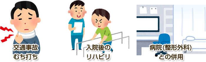 交通事故・むちうち、入院後のリハビリ、病院(整形外科)との併用